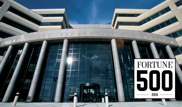 Cincinnati Financial headquarters with 2016 Fortune 500 logo